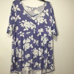 Boutique Woman's Blue Floral Blouse Top Size 1X
